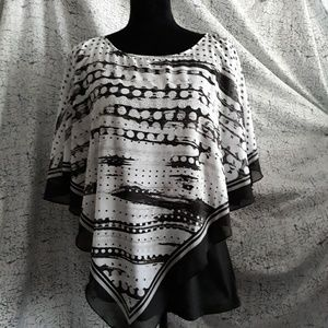 Blouse with attatched shaw